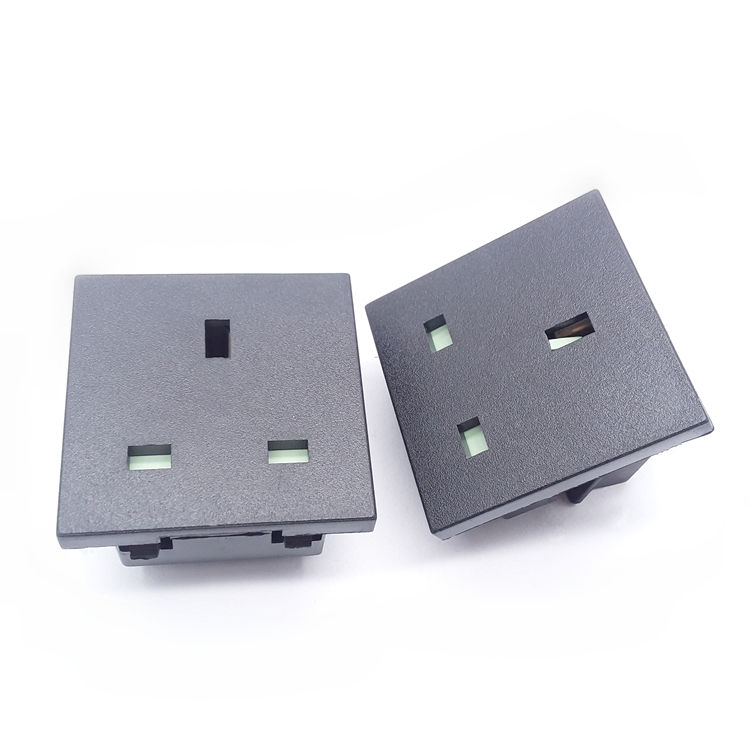 High quality AC power inlet 2 pin uk plug 16amp black white AC-011 industrial wall 3 pin female socket