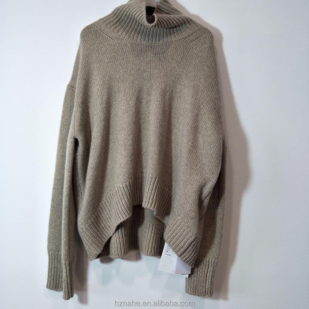 ladies/women 100%cashmere asymmetrical high-necked light brown sweater