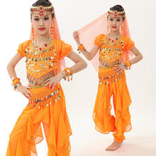Children sequin dance Girl Indian Belly Dance Costumes Top & Pants & Waist & Head Chain & Veil & Bracelets 8 Color 6 Pls ZH2052