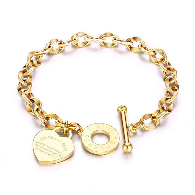Toggle Clasp Heart Charm Women Bracelet Jewelry Stainless Steel