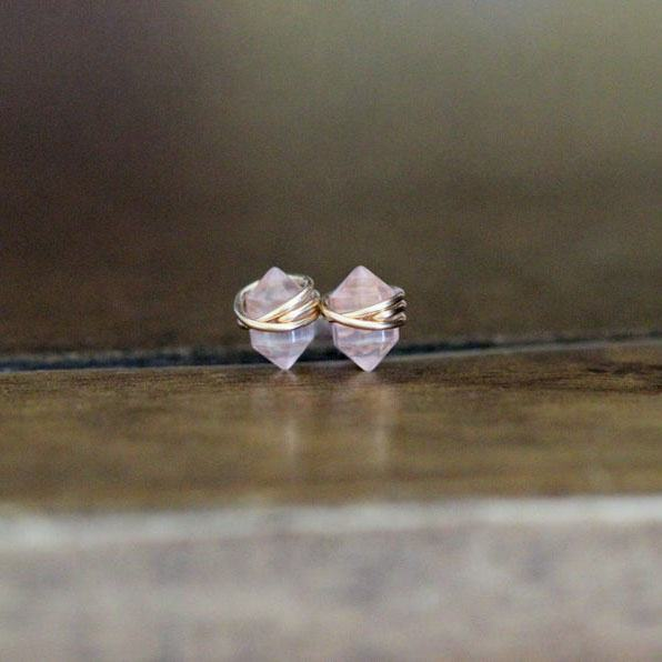 Rose Quartz Studs Petite Blush Pink Gemstone Post Earrings in Gold Rose Gold Sterling Silver Geometric Natural Stone Earrings