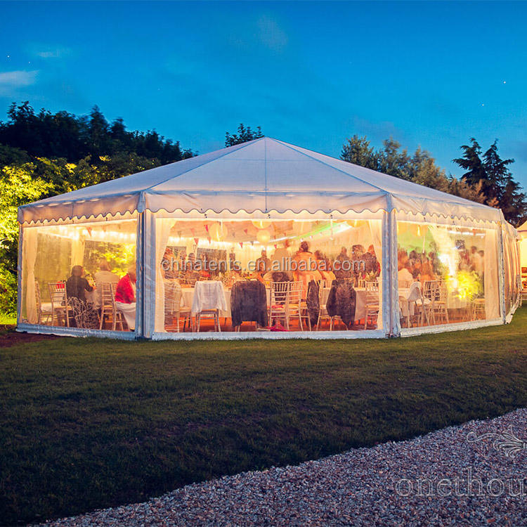 Luxury Glass Wall Polygonal Outdoor Wedding Party Marquee Tent