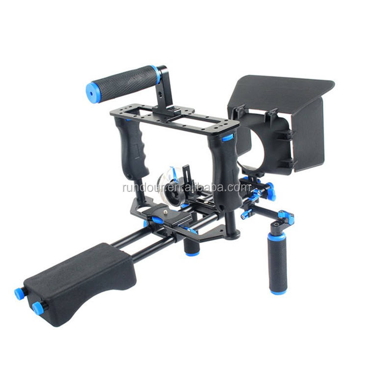 Rundour DSLR Video Stabilizer camera rig cage kit Shoulder Mount Rig+Matte Box+Follow Focus+Cage for Canon 5D Mark III 5D2 60D 7