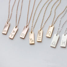 Stainless steel Jewelry Personalized Horoscope Signs Pendant Choker Rectangle Tags Birthday Gift Zodiac Necklace