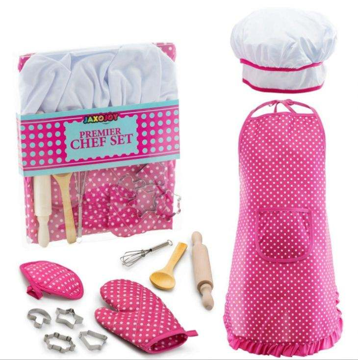 Chef Hat Apron Set Waterproof Child's Kids Chef Hat And Apron Set