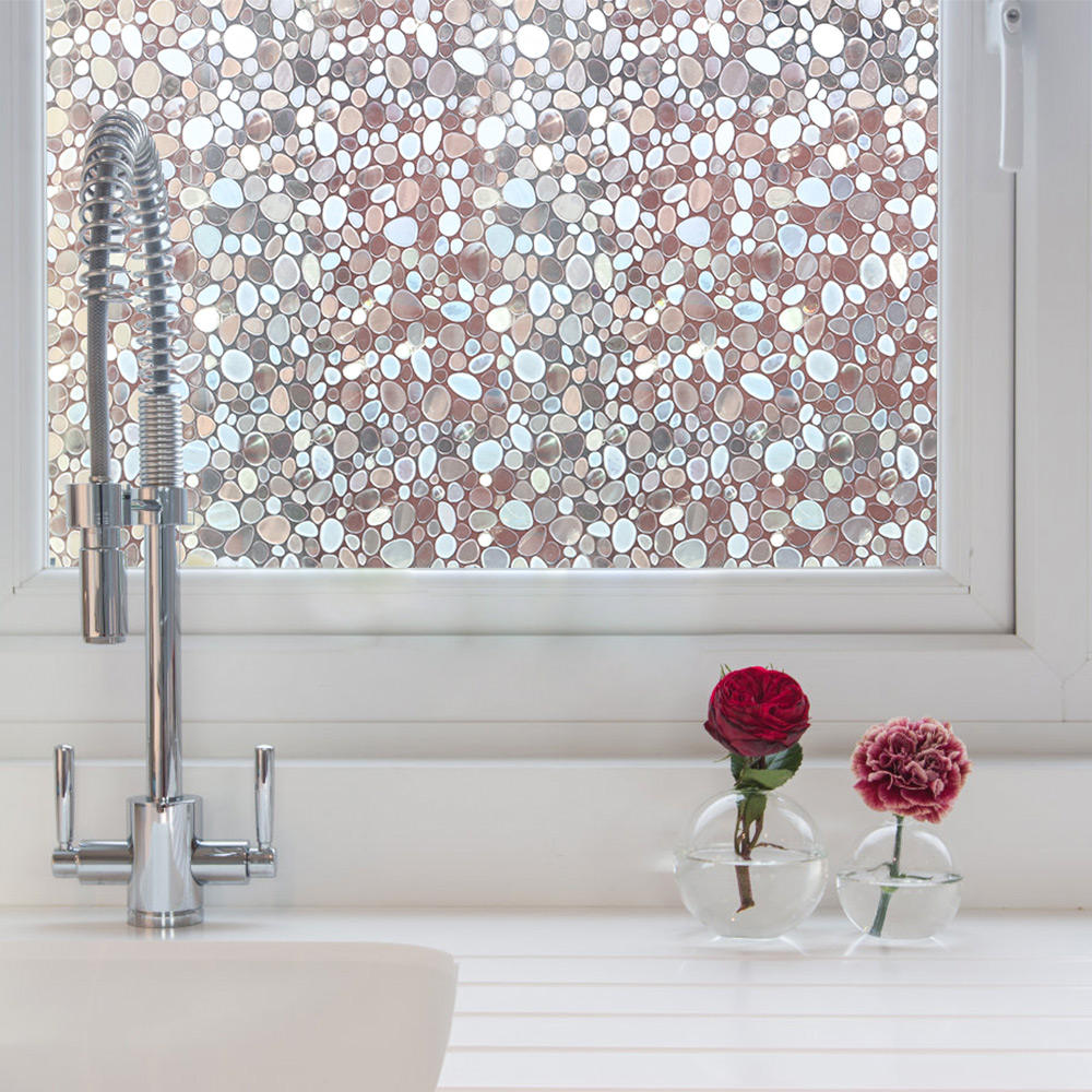3d laser cobblestone pattern removable static cling window film