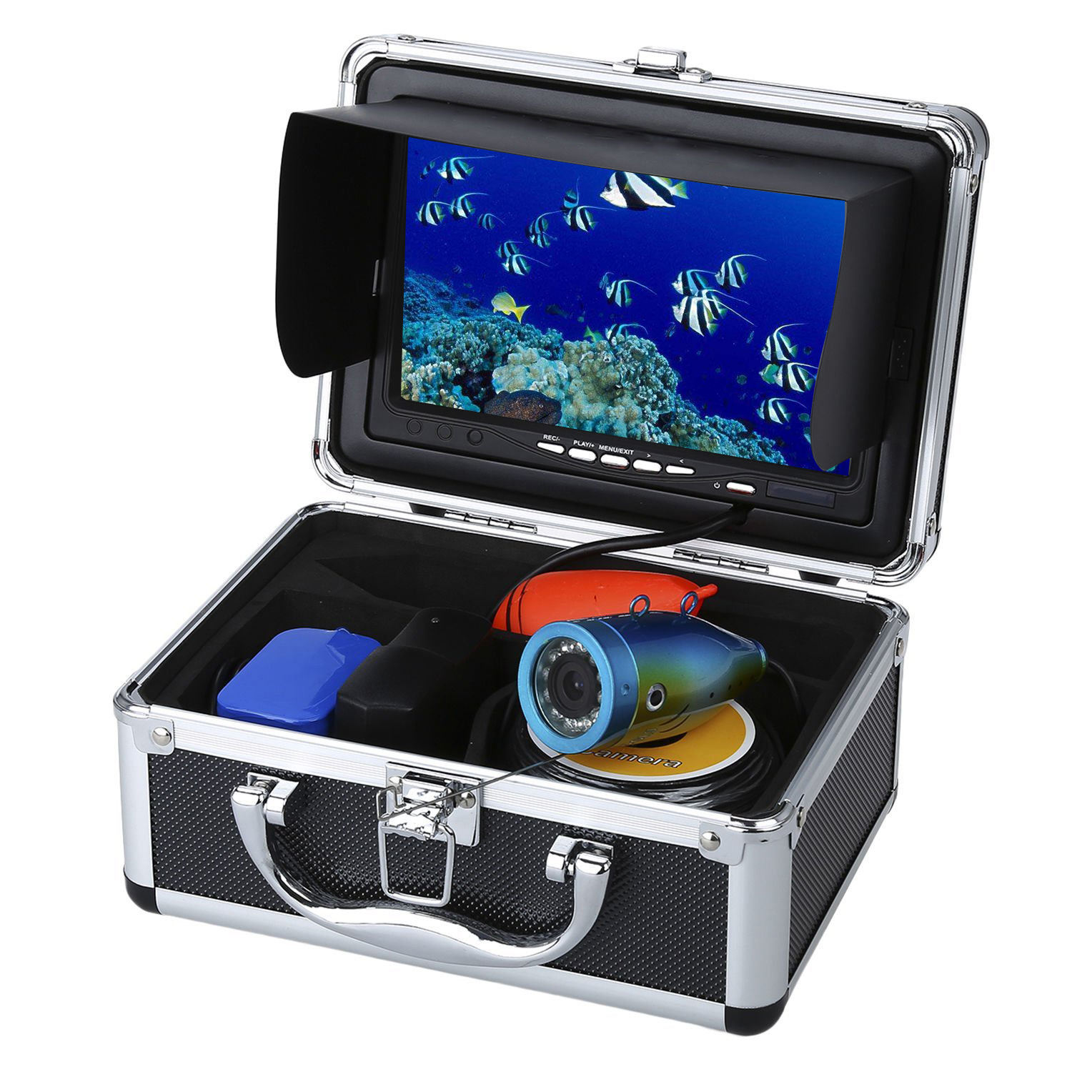 "1000TVL HD Waterproof Underwater 15M Fish Finder 7"" Monitor Underwater Fishing Camera 12Pcs White LED Lights With DVR Function"
