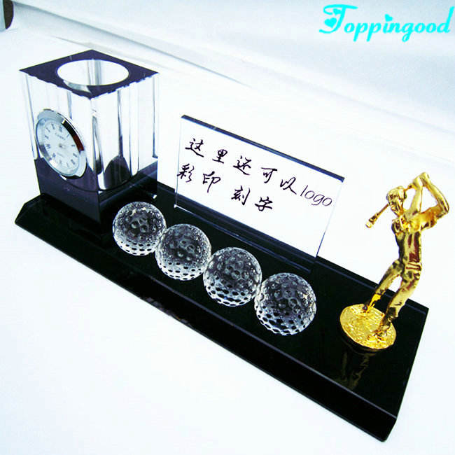 Man Playing Golf Crystal Desk Stationery For Office Decoration