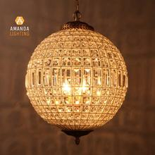 19th Century Morocco Vintage Baroque Handmade Crystal Beaded Ball Chandelier For Hotel Lobby Villas