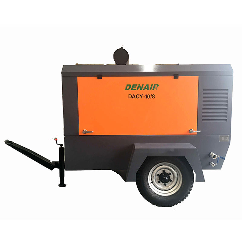 DACY Series 8 9 10 m3 min 300 cfm Portable Configuration Diesel Driven Screw Air Compressor on 2 wheels