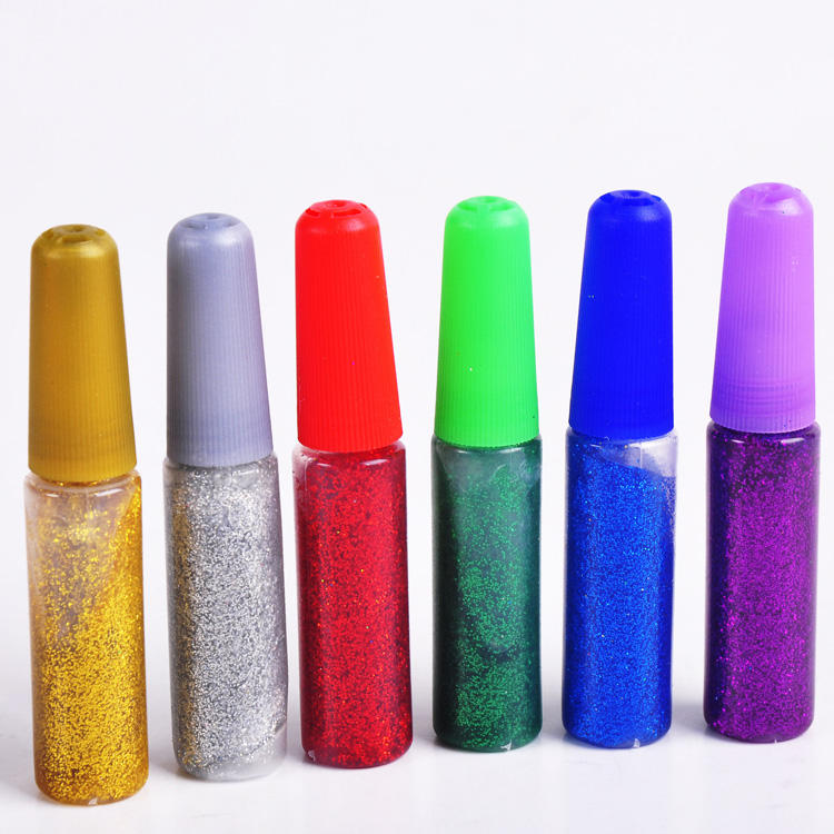 wholesale 6g DIY art and hobby school 6 color pack glitter glue pens
