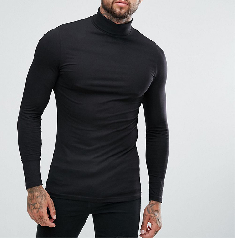 Wholesale men long sleeve muscle slim fit t-shirts in bulk custom printing turtleneck plain t-shirts man tee winter garments