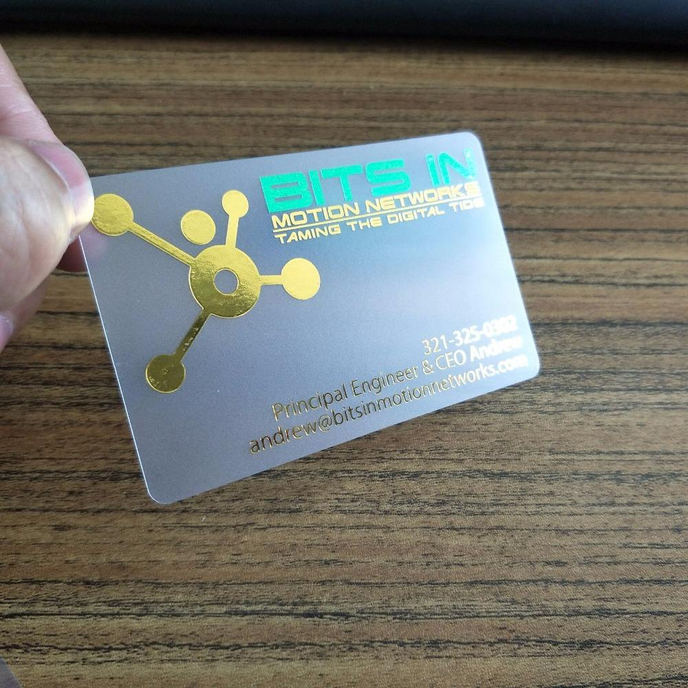 Transparent plastic visit card business cards using gold foil