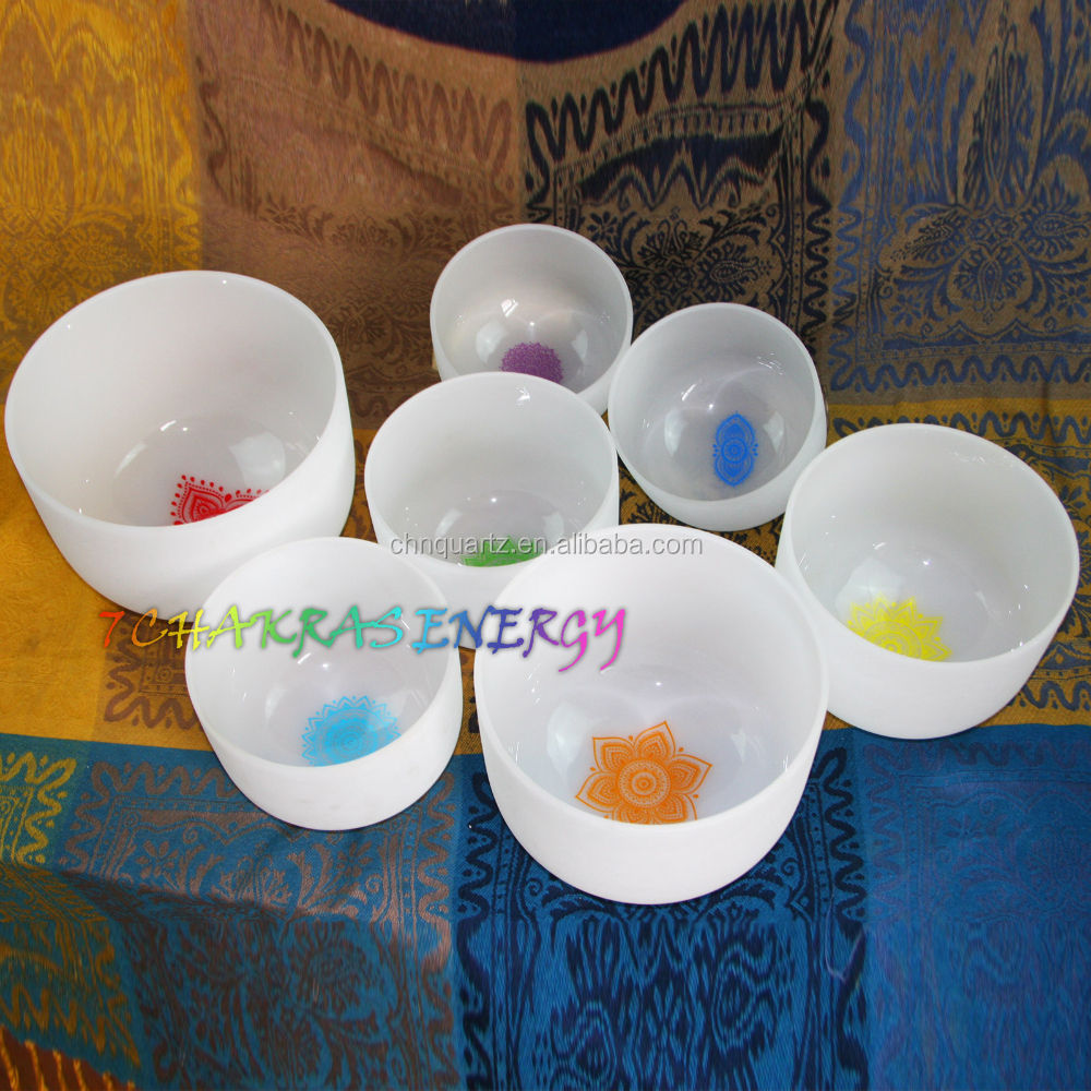 BEST customers design 432 HZ 440 HZ 7'' -12'' chakra tune frosted crystal singing bowls set 7 pcs free mallets and o-rings