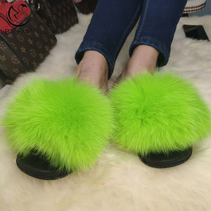 Hot Sell Non-slip Fluorescent Green Color Women Fur Slippers