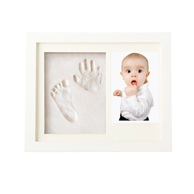 nuosen Baby Handprint Footprint Photo Frame Kit for Newborn Boys and Girls Baby Pets Safe Handprint and Footprint Ink Pads