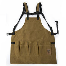 Heavy Duty Waxed Canvas Tool Chef Work Industrial Apron With Tool Pockets For Men