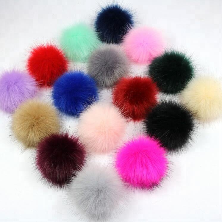 Factory wholesale fake fox fur pompom or faux raccoon fur pom pom ball with snap