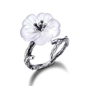 Handmade flower shaped silver jewelry ring