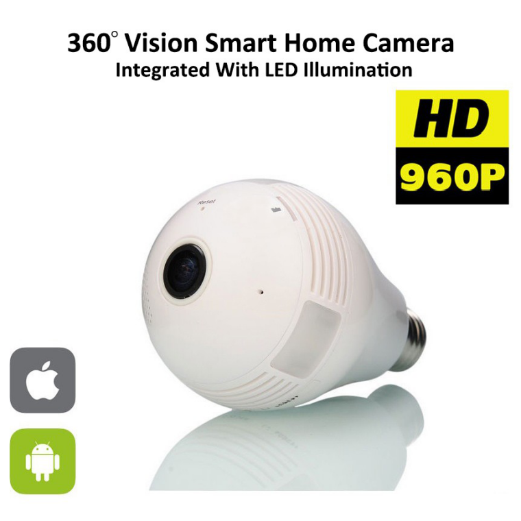 960 P <span class=keywords><strong>Wi</strong></span>-<span class=keywords><strong>Fi</strong></span> Lampadina Lampada Fisheye Panoramic camera Security Camera Motion Detection