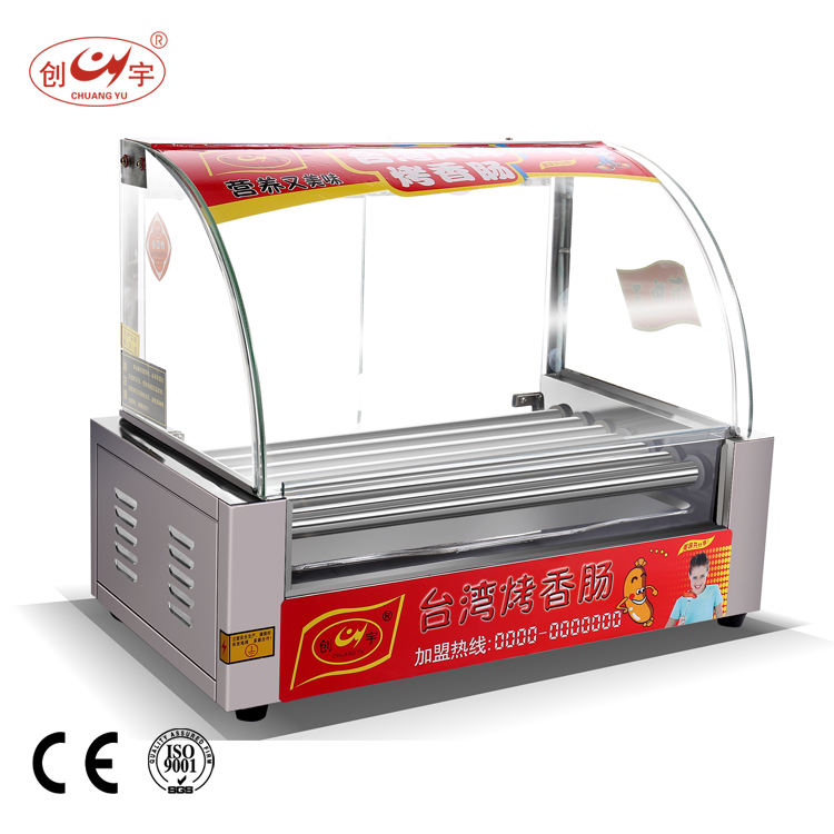 Chuangyu Beste Producten 7 Roller Rvs Hot Dog <span class=keywords><strong>Maker</strong></span> <span class=keywords><strong>Machine</strong></span> Met Supply Verwijder Cover