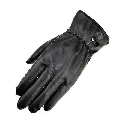 D1371 Men Women Warm PU Leather Outdoor Bicycling Touch Screen Gloves