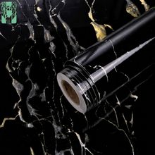 High quality interior decoration peel and stick black marble wallpaper