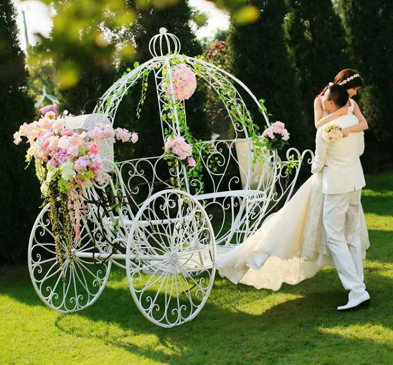 Iron pumpkin carriage Cinderella's Coach stage backdrop garden wedding decorations