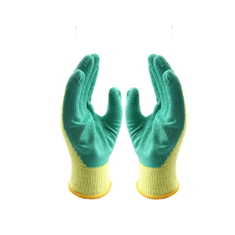Comfortable and breathable crinkle latex coating string knit hand job gloves