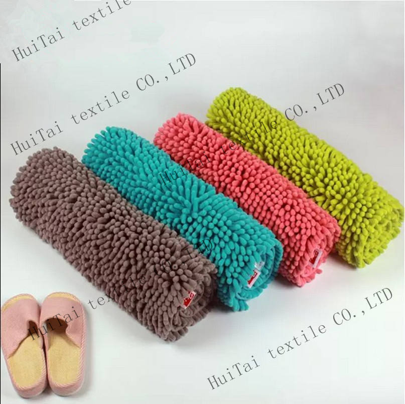 long pile shaggy Chenille bath mat with hot-melt backing