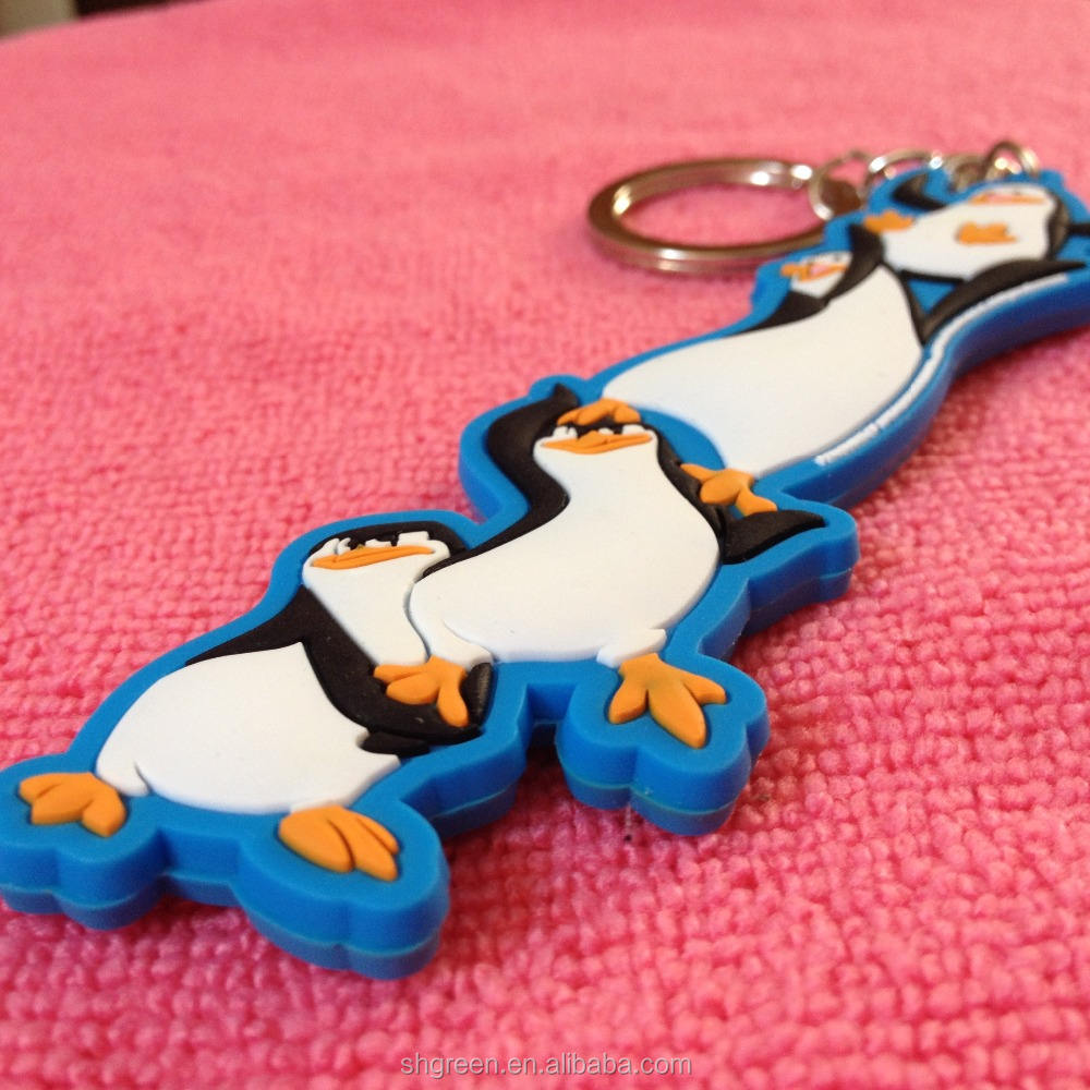 Cartoon penguins 3D PVC rubber keyring,silicone keychain for souvenir gifts