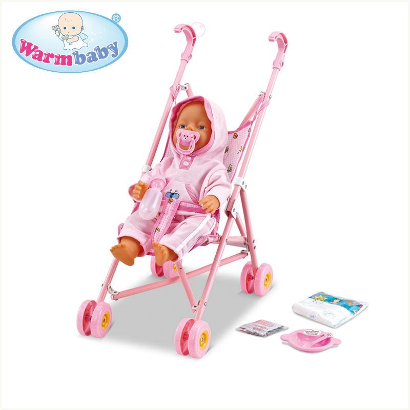 Divertente giocattoli bambino alleviare la natura 16 pollice a buon mercato baby dolls con metal passeggino