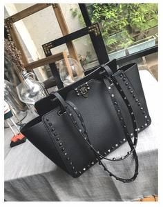 High quality fashion beautiful colorful custom rivet pu leather women hand bag
