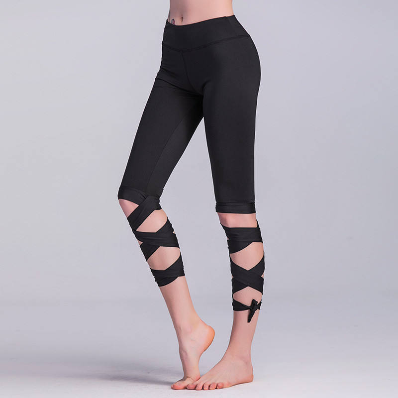 2019 New Fashion Fitness Ballet Lace Yoga Sports Leggings Patchwork Scrunch Butt Push Up Leggings