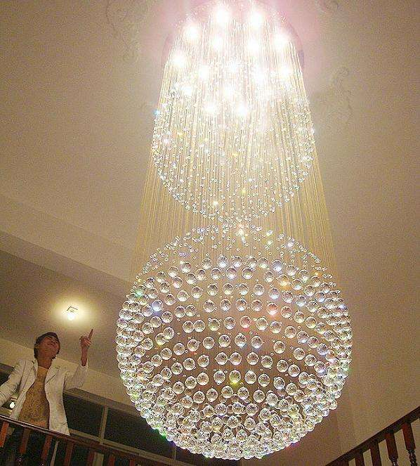 Huge hotel stair crystal ball puzzle lamp