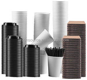 Set Of 100 Paper Coffee Hot Cups With Travel Lids Sleeves And Stirrers Disposable Coffee Cups 12oz White Hot Coffee Cups