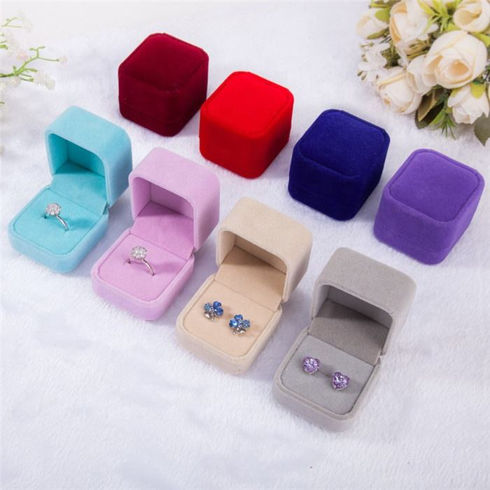 Engagement Velvet Ring Box Jewelry Display Storage Case For Wedding Ring Valentine's Day Gift Organizer 5*4.5*4cm