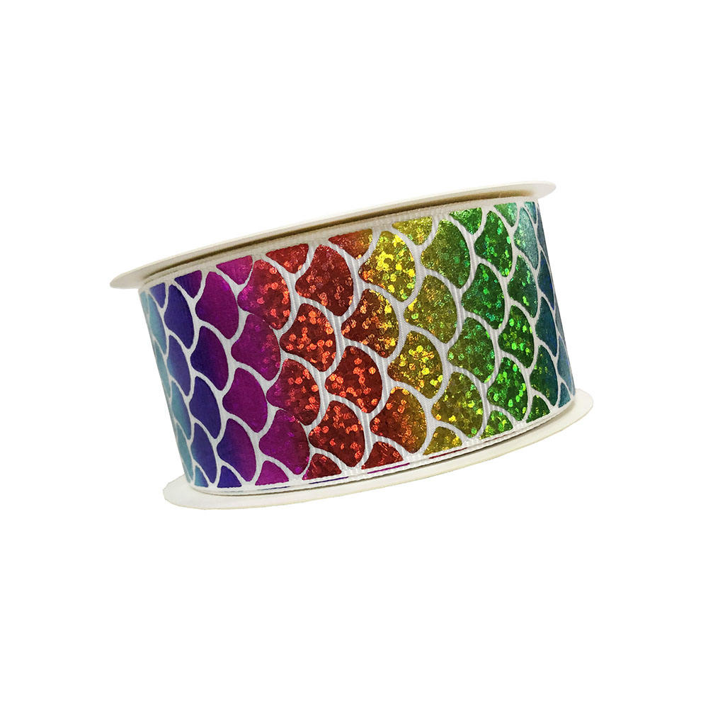 Colorful fish Scales Glitter Grosgrain Ribbons