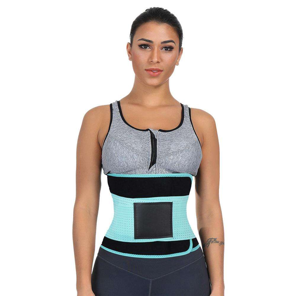 Wholesale Plus Size Light Blue Plastic Bone Fitted Curve Waist Shaper Waist Trainers Body Shaper