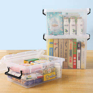 Clear stacking plastic houseware organizer storage box