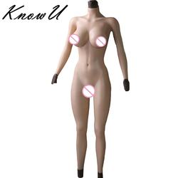 Silicone Female Cyberskin Full Body Suit One-Piece Tight Zentai Transgender Pussy Breast Form Crossdresser