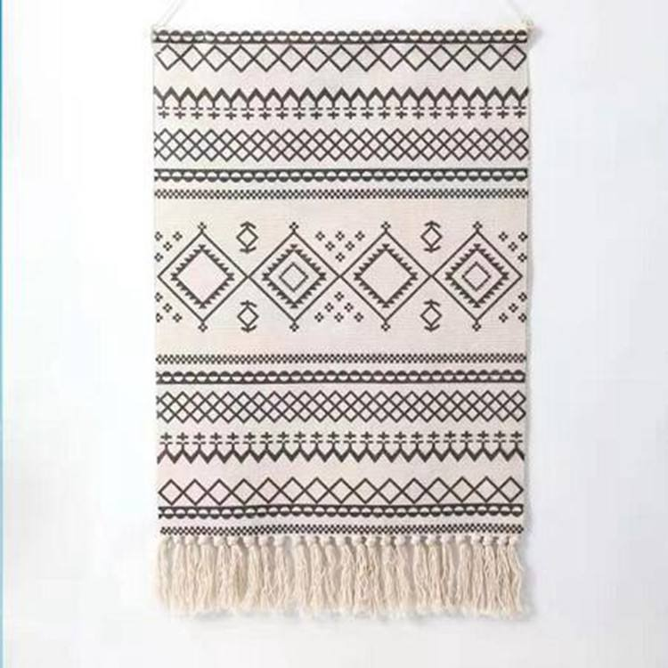 Cotton Printing Home Decor Decorative Geometric Wall Hanging Machine Woven Art Tapestry with Cotton Tassels