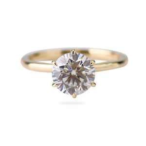 Nach 14k solide gelb gold 1,5 carat 7,5mm runde GH farbe moissanite labor diamond engagement ring
