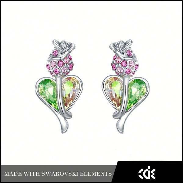 Cde accessoires de mode bijoux vente en <span class=keywords><strong>gros</strong></span> boucles d'oreilles quartz rose pour les filles