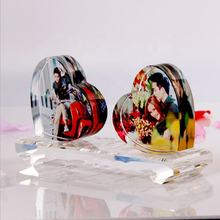 High Quality Heart-shaped 3D Laser engraving Crystal Photo Frame for wedding souvenirs