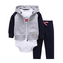Kids Boy Bebe clothes Baby Set Hooded Jacket+Rompers+Pants Infant Toddler Boy Clothing Girls Autumn Children Suits Newborn Set