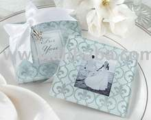 Fleur-de-lis Frosted Glass Photo Coaster Favors