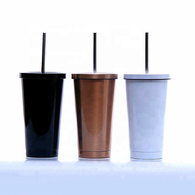 wholesale double wall 16oz stainless steel straw tumbler coffee mug with straw vacuum cup stainless steel mug