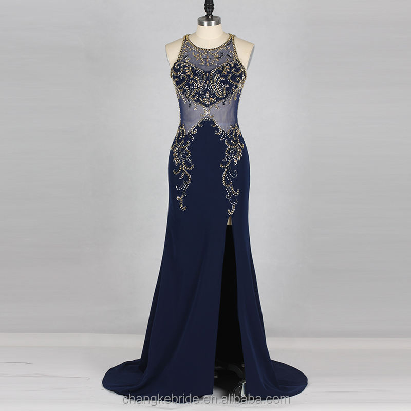 Baru Koleksi Evening Dresses Mermaid Nyata Foto Navy Panjang Spandex Splits Pola Manik-manik Mewah Evening Dress 2018