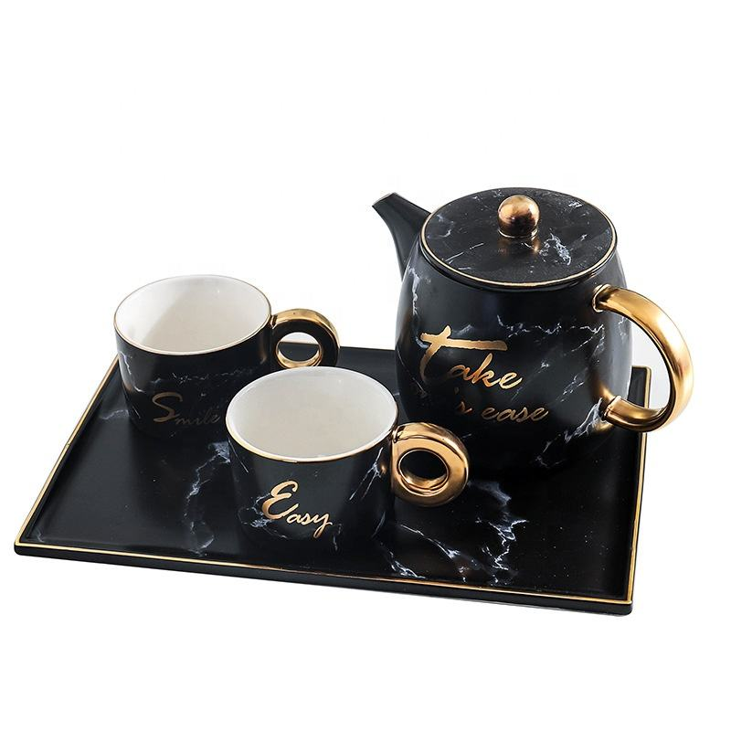 Marble White Black Gold Rim Golden Handle Afternoon Tea Cup Pot Set Ceramic Mug With Tray